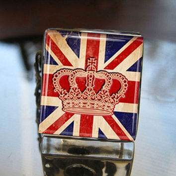 Glass Tile Adjustable Filigree RingUnion Jack by goddessglass10359