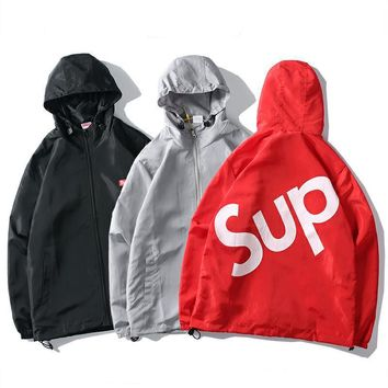 Supreme Sideline Side Logo Parka Cardigan Jacket Coat Windbreaker