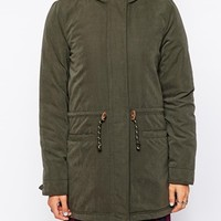 Only Faux Fur Hooded Parka With Contrast Lining