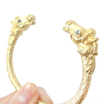 Realistic Luxe Horse Head Shaped Wrap Around Bangle Bracelet Cuff in Gold | Animal Jewelry