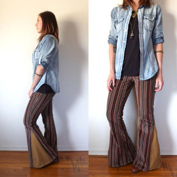 Striped Corduroy Bell Bottoms // Up-cycled Hippie Flare Pants