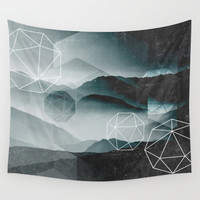 Winter Mountains Wall Tapestry by Cafelab