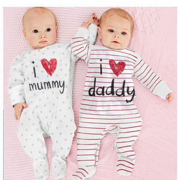 Baby Boys Girls Clothes Newborn Baby Romper I Love Mummy Daddy Baby Costume Jumpsuit Winter Romper Body Jumpsuit KIDS CLOTHES