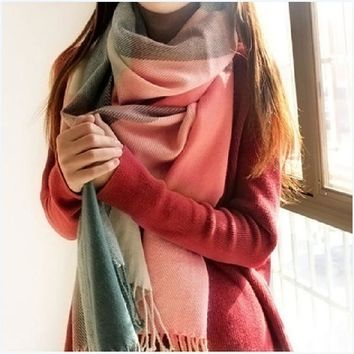 Winter Scarf Women Men Luxury Brand Designer 2016 Tartan Cashmere Winter Warm Square Plaid Wool Shawl In Women Scarves Cachecol