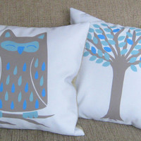 Owl and Tree Pillow Covers 16 inch, Set of 2 Decorative Throw Pillow Covers, Cushion Covers, Shams