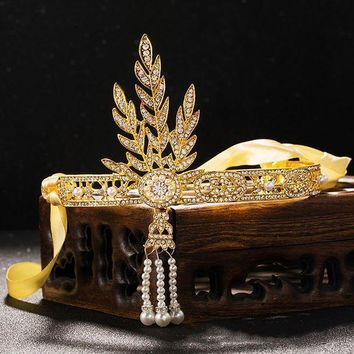 2016 New Bridal Tiara Wedding Great Gatsby Charleston 1920s Vintage Pearls Headpiece Headband Diadem Gold Leaf Pearl Crown