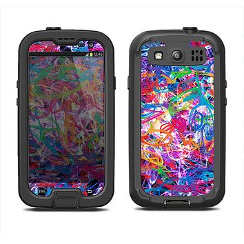 The Neon Overlapping Squiggles Samsung Galaxy S3 LifeProof Fre Case Skin Set