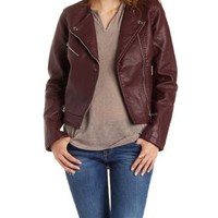 Wine Faux Leather Collarless Moto Jacket by Charlotte Russe