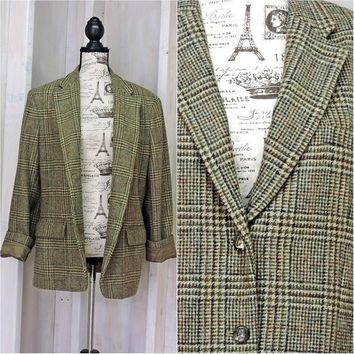 Womens Ralph Lauren boyfriend Blazer / Jacket / size XL / Oversized vintage wool blazer / Retro plaid houndstooth / Preppy / Equestrian