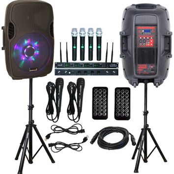 "STARAUDIO SPW-15RGB 2Pcs PA DJ 15"" 2500W Stage Speakers W/ 2 Speaker Stands 2 Wired Microphones 4CH UHF Microphones"