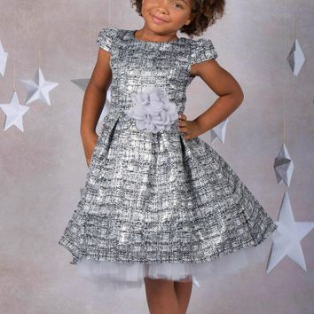(Sale) Size 5/6 Girls Silver Brocade High/Low Peek Tulle Holiday Dress