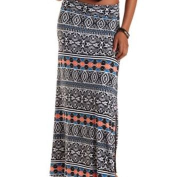 Multi Boho Print Double Slit Maxi Skirt by Charlotte Russe