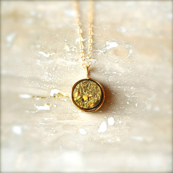 Simple Gold Druzy Necklace on Gold Chain