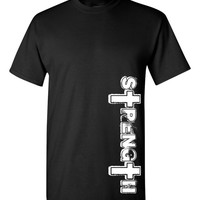 "Philippians 4:13, ""Strength"" professional screen printed t shirt.  This  t shirt is printed with white ink.  FREE SHIPPING"