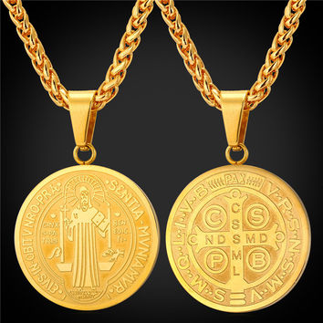 Saint Benedict Medal Pendant Necklace Charms Jewelry Gift Round Oval Stainless Steel Gold Plated Chain Men Women 2016 New GP1895