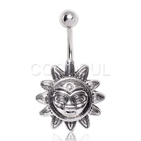 316L Surgical Steel Smiling Sun Navel Ring