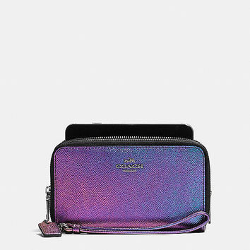 Double Zip Phone Wallet in Hologram Leather