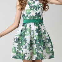 Sleeveless Summer Dress with Leave Prints
