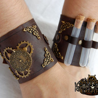 Steampunk Dr. Jefferson Leather Cuffs