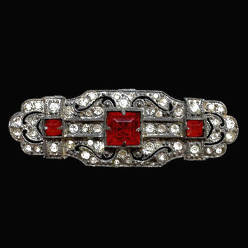 Art Deco Bar Brooch Pin, Ruby Red Rhinestones And Clear