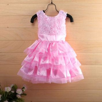 2016 Hot Rose Garden Pink Rosette Silk Dress Easter Flower Baby Girl Wedding New+headband free shipping