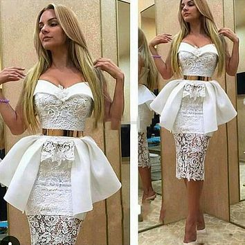 Sexy Lace Peplum Knee Length Cocktail Dresses Sweetheart Off The Shoulder Prom Gowns Sheer 2017 Vestidos De 15 Anos Curto