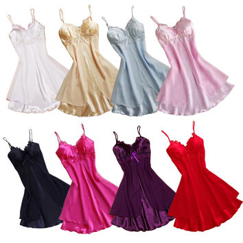 Sexy Women Lace Short Mini Braces Nightdress Smooth Satin Nightgown Pajams Sleepwear