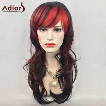 Adiors Long Double Color Layered Side Bang Wavy Synthetic Party Wig