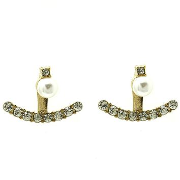 Cream Double Sided Pearl Ear Jacket Earring