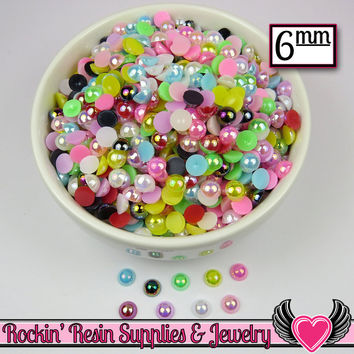 200 pc 6mm AB COLORFUL MiX Half Pearls Flatback Decoden Cabochons