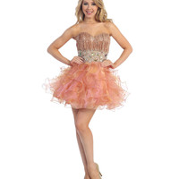 2013 Prom Dresses - Peach Gold Chiffon and Sequin Short Prom Dress - Unique Vintage - Prom dresses, retro dresses, retro swimsuits.