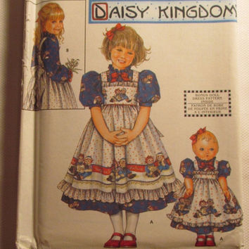 SALE Uncut Simplicity Sewing Pattern, 9424! 5-6-7-8 Girls/Child/Kids/Daisy Kingdom/Doll Dress Pattern/Pinafore & Dress/Doll Clothes for 18""