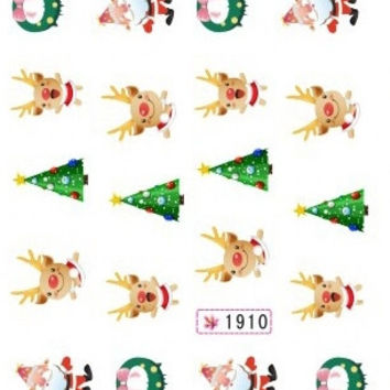 GLITTER WATER DECAL NAIL STICKER Xmas Christmas DEERS GIFT BOX SNOW MAN SY1905-1910