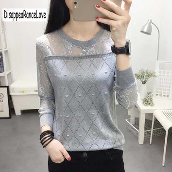 2018 Spring Sexy Lace Knitted Sweater Women Solid Color Slash Neck Slim Elastic Sweaters Female Sweter Pullovers Tops Knitwear