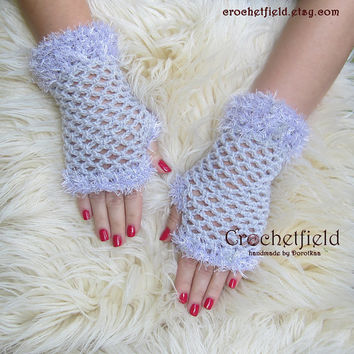 Lilac Crochet Mittens, Fingerless Gloves, Lace Hand warmers, Wrist Cuffs ,Gift for her, Women's Fashion Accessory
