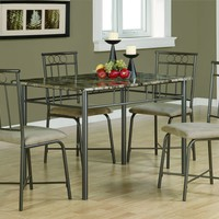 Cappuccino Marble / Bronze Metal 5Pcs Dining Set