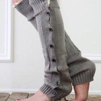 Gray Crochet Knitted Leg Warmers