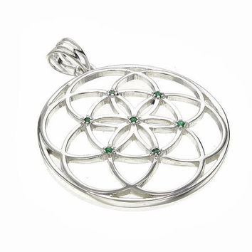 Sacred Geometry Seed of Life Pendant with Emeralds set in 925 Sterling Silver