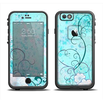 The Subtle Blue & Pink Grunge Floral Apple iPhone 6 LifeProof Fre Case Skin Set