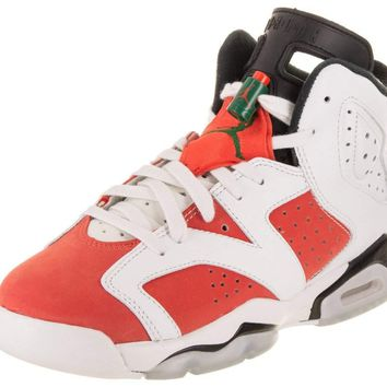 Jordan Air 6 Retro Big Kids' Basketball Shoes Summit White/Team Orange-Black 384665-145