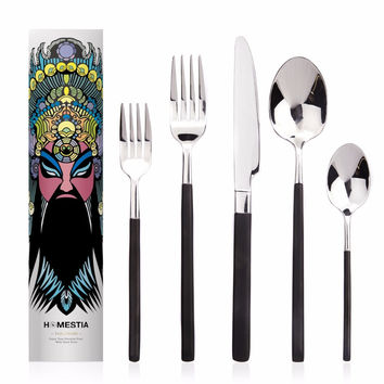 Homestia Superior Silver Stainless Steel Flatware Sets of 5 Place Setting Knife Spoon Fork Multi with Peking Opera Boxes Gifts