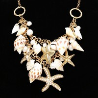 Mermaid's Collar Seashell & Starfish Gold Plated Necklace or Bracelet