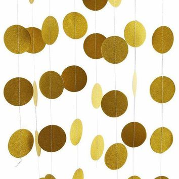 VONW3Q Echodo 4 Packs 52 Feet Gold Circle Dots Glitter Paper Garland Party Decorative Paper Circle Dots Hanging String for Birthday Wedding Decorations