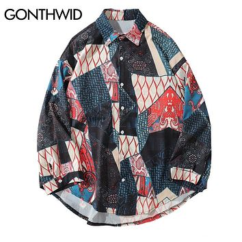 GONTHWID Japanese Ukiyo E Geometry Patchwork Long Sleeve Shirts 2018 Hip Hop Casual Streetwear Shirts Men Women Fashion Tops