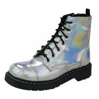 TUK Silver Iridescent Anarchic Boots