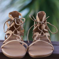 Maldives Natural Lace Up Caged Sandals