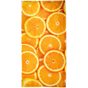 Orange Oranges Citrus All Over Plush Beach Towel