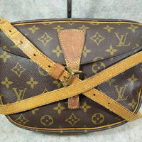 Auth Louis Vuitton Monogram Vintage Jeune Fille in1987 Crossbody Bag, Shoulder Bag, Cowhide Not Beautiful but Strong to Useful, Photo inside