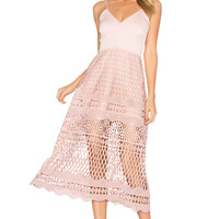 Karina Grimaldi Alice Crochet Dress in Blush | REVOLVE