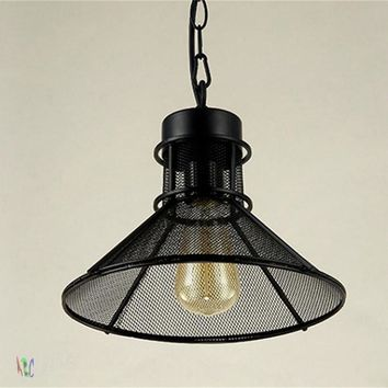 Vintage Hanging Metal Basket Pendant Light w/Edison Bulb